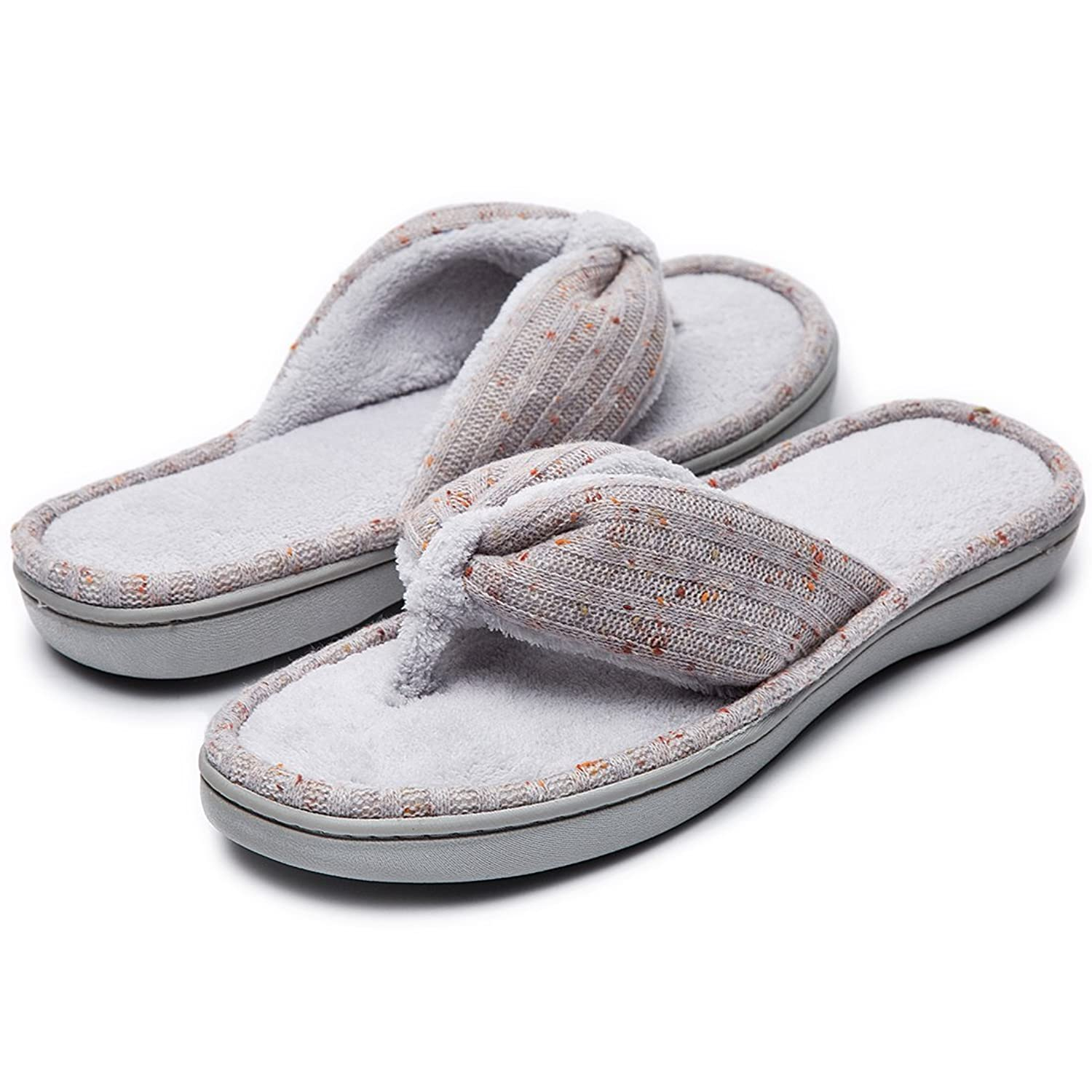 57c9cfe4df177a HomeTop Ladies  Soft   Comfy Knitted Plush Fleece Lining Memory Foam Spa  Thong Flip Flops House Slippers  Amazon.co.uk  Shoes   Bags