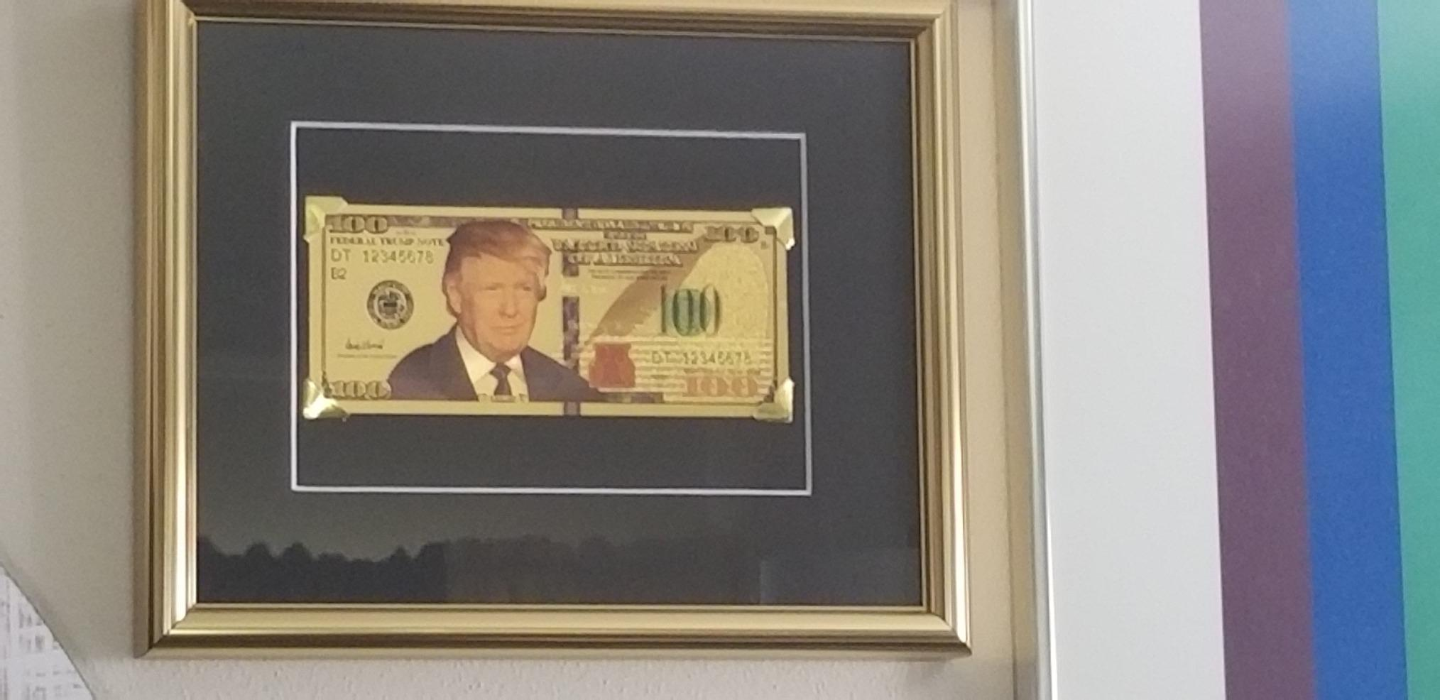24 KT GOLD USA $ 100  DOLLAR BILL-FRAMED-GREEN SEAL-BLACK BACKGROUND
