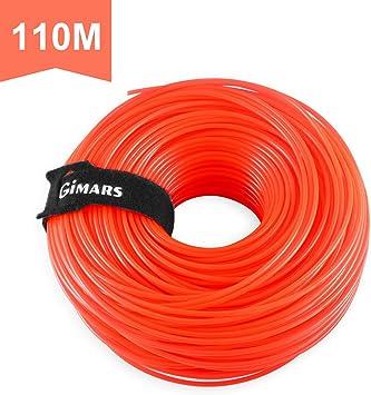 Gimars - Hilo para cortacésped (2,4 mm, 110 m, para desbrozadora de césped, hilo de repuesto para desbrozadora de césped, con brida de velcro): Amazon.es: Bricolaje y herramientas