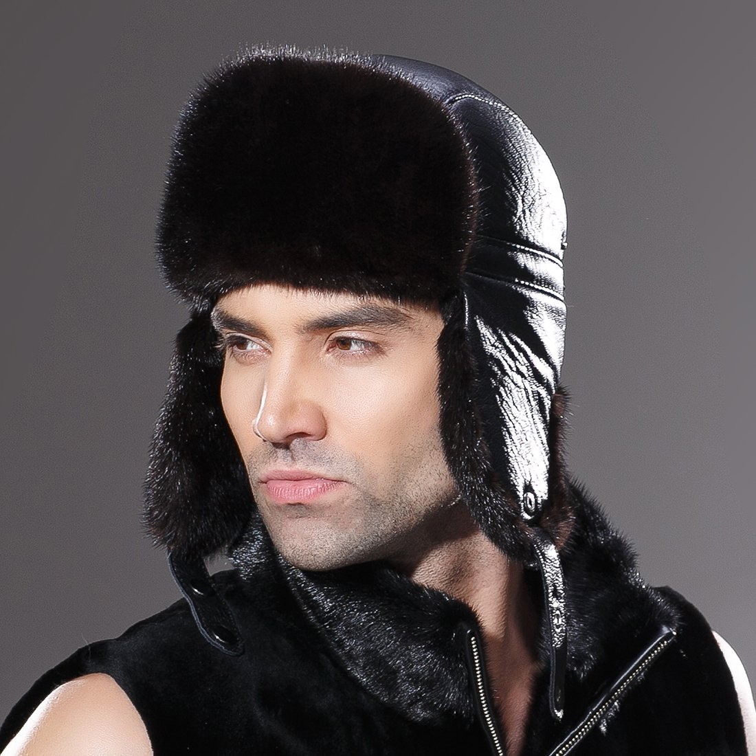 URSFUR Winter Leather Men Fur Hat Real Mink Fur Russian Trapper Hats Black by URSFUR (Image #4)
