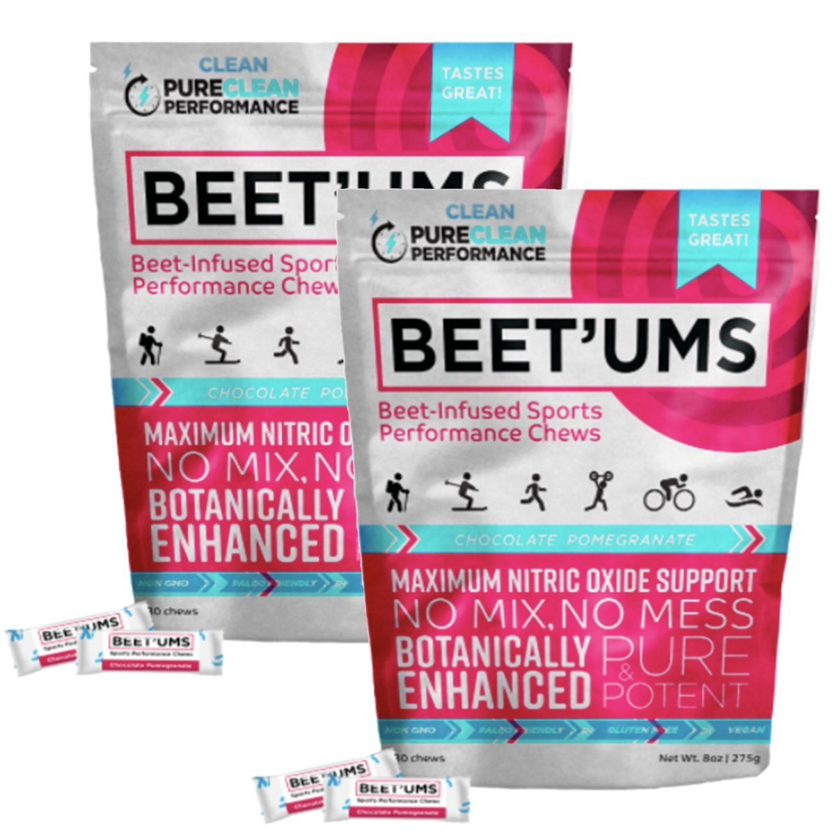 Beet'Ums - 2 Pack, Beet Infused Chocolate Pomegranate Performance Chews – PureClean Performance Super Beets, Concentrated Fermented Beet Juice Powder – Enhanced for Maximum Blood Pressure Benefits.