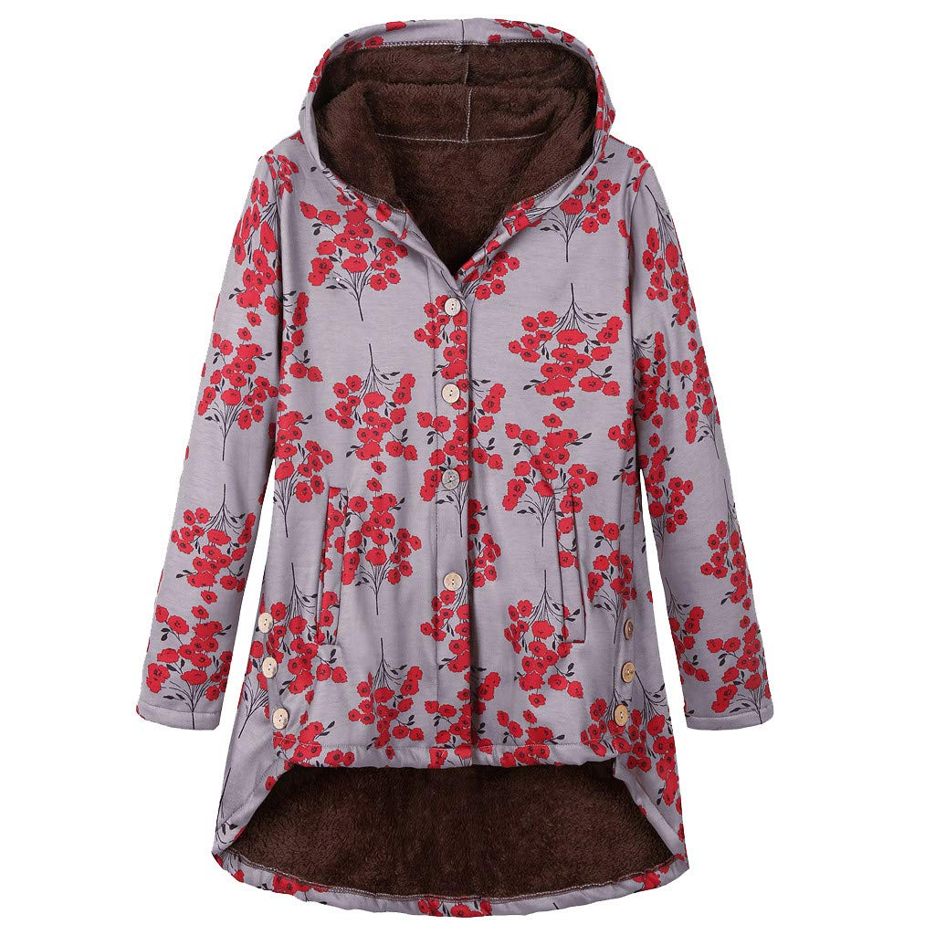 ZOMUSAR Women's Coat, Womens Winter Warm Outwear Floral Print Hooded Pockets Vintage Oversize Coats by ZOMUSAR