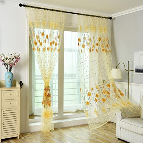 Amazon Curtain 2 Panel Beautiful Floral Elegance Voile Door Window Sheer Room Divider Curtains Home Decor Summer For Living