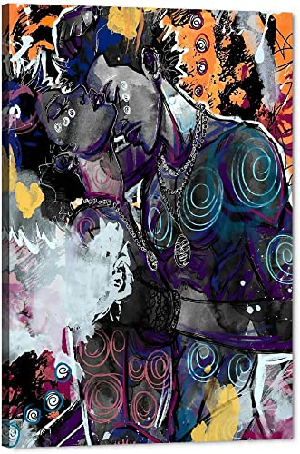 African American King and Queen Graffiti Canvas Wall Art
