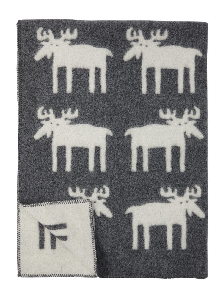 KLIPPAN Creme-flanellgraue Wolldecke 'Moose', 130x180cm, umkettelt