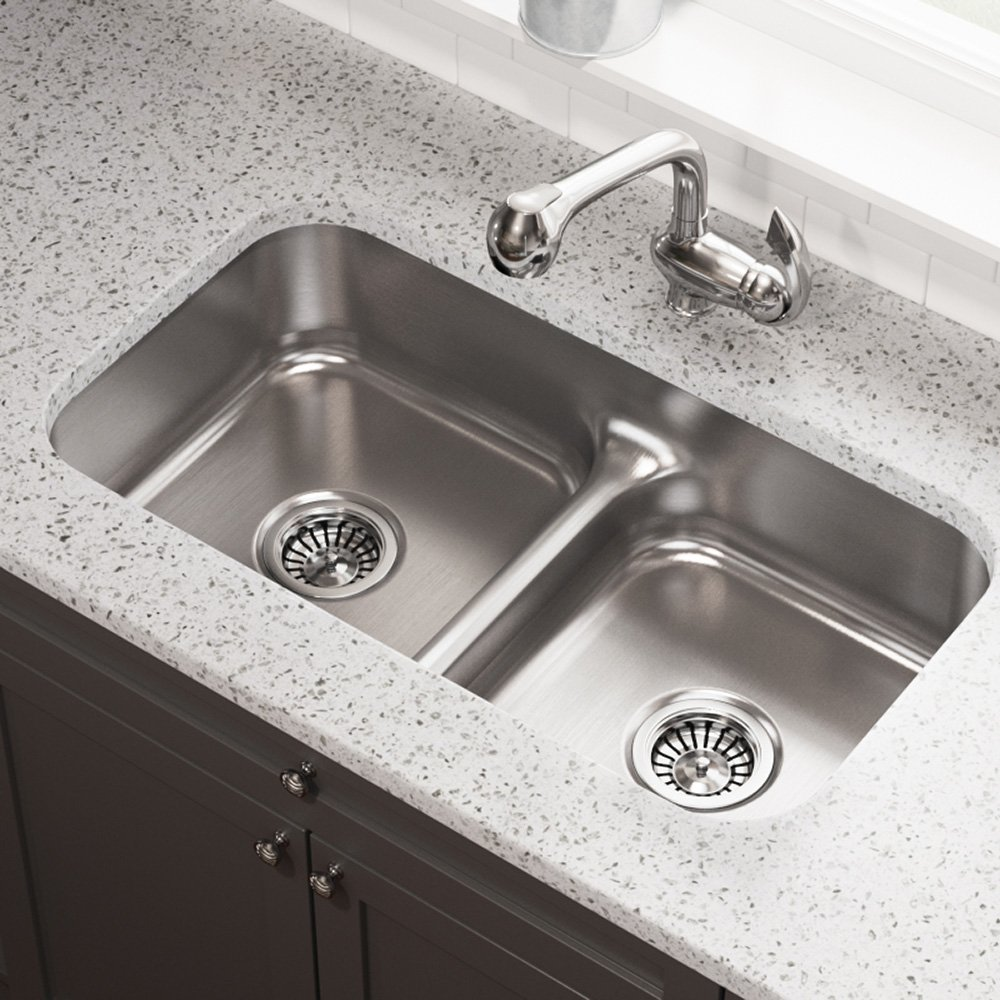 Exceptional 512 16 Gauge Undermount Low Divide Stainless Steel Kitchen Sink   Brushed Stainless  Undermount Sinks   Amazon.com