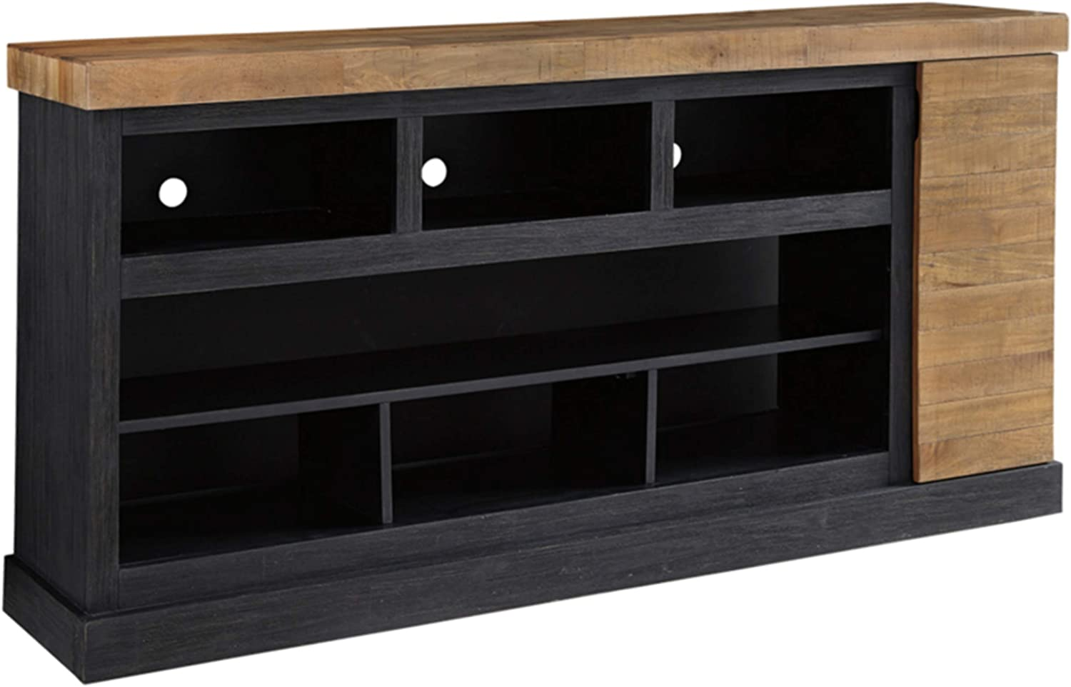 Signature Design by Ashley Tonnari Extra Large TV Stand with Fireplace Option Two-tone Brown