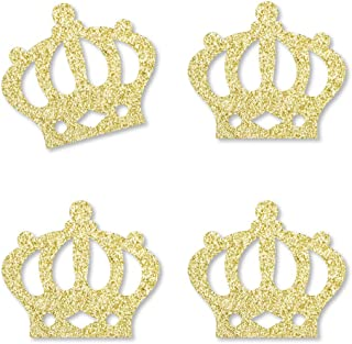 product image for Gold Glitter Prince Crown - No-Mess Real Gold Glitter Cut-Outs - Royal Prince Charming Baby Shower or Birthday Party Confetti - Set of 24