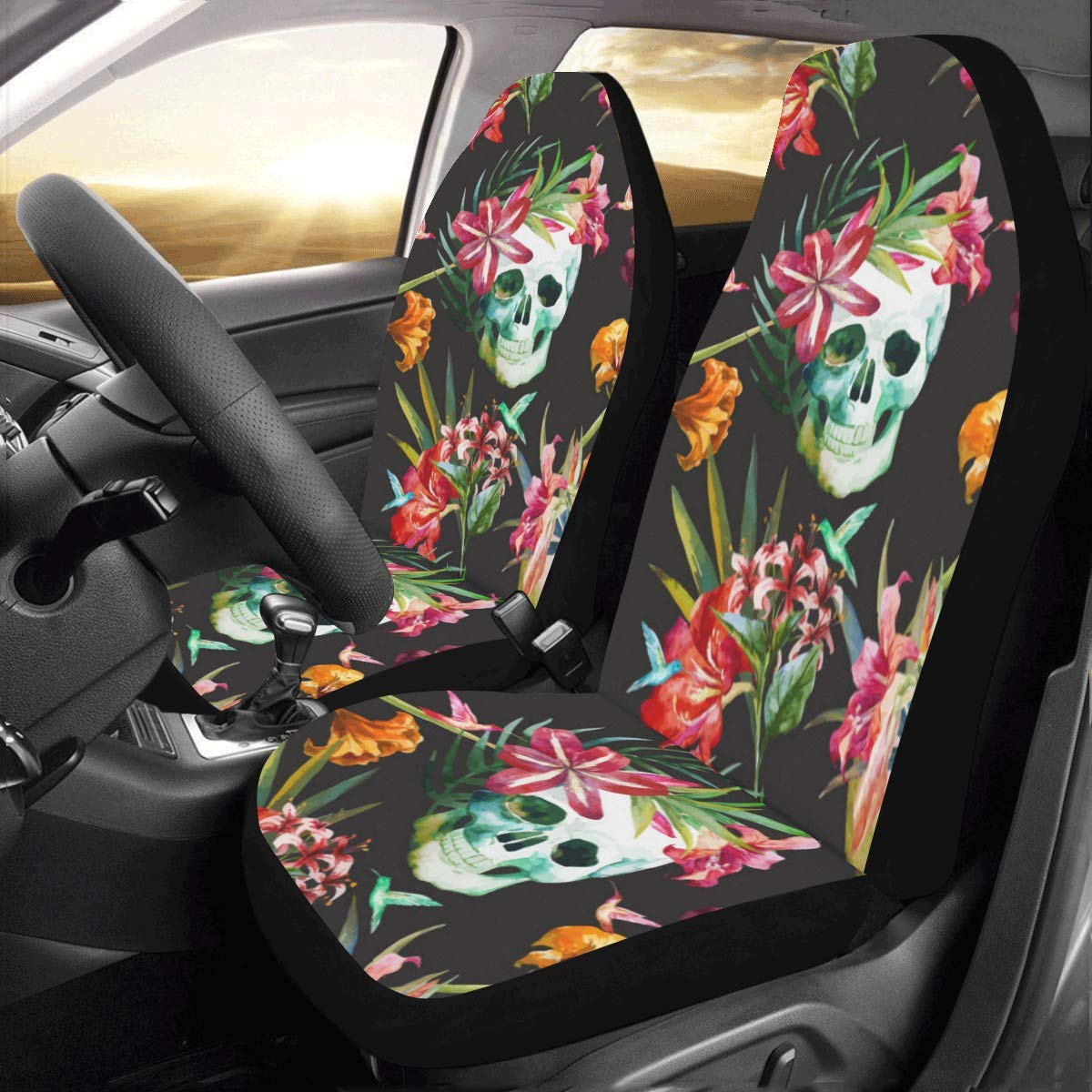 Set of 2 Best Automobile Seats Protector Artsadd Pink Flamingo Fabric Car Seat Covers