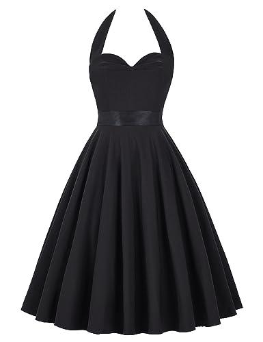 Women's 50s Vintage Sliod Color Rockabilly Picnic Party Dress,Small,Black 50-1