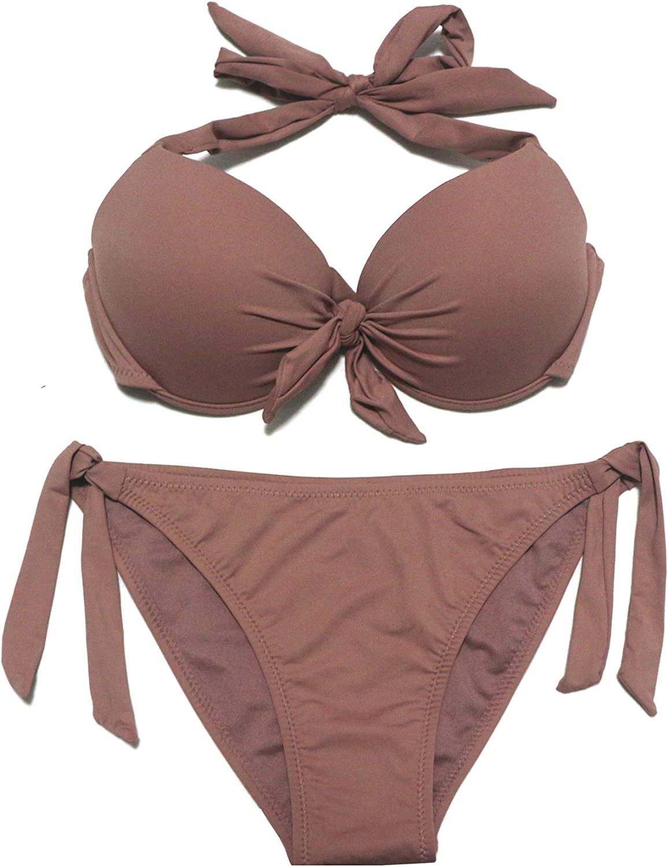 EONAR Damen Bademode Nackentr/äger Push up Bikinioberteil mit Underwire Einstellbar Seitlich Bindungen Bikini-Sets