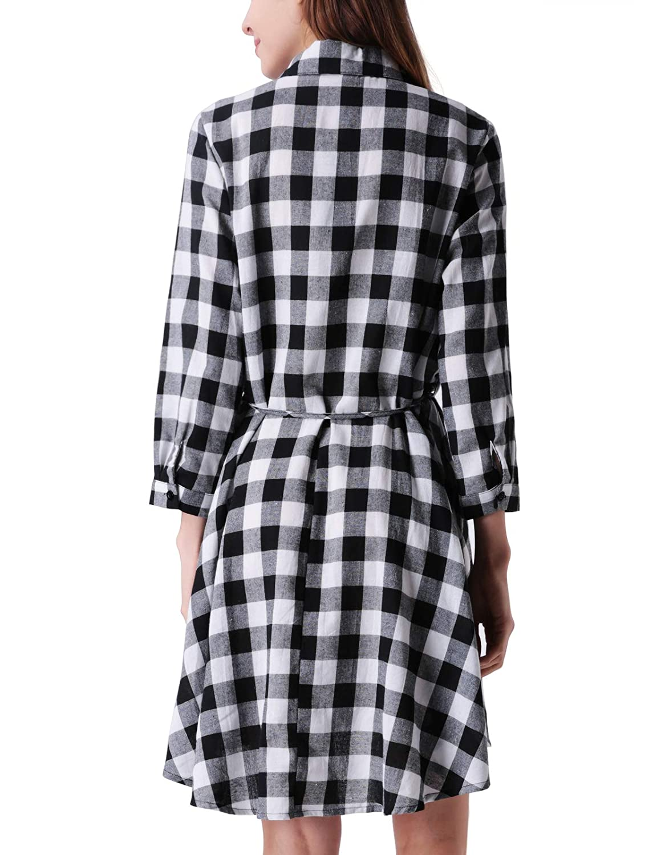 43194d52e90 MAVIS LAVEN Women s Long Sleeve Plaid Shirt Dress High Low Tunic T Shirt  Dress at Amazon Women s Clothing store