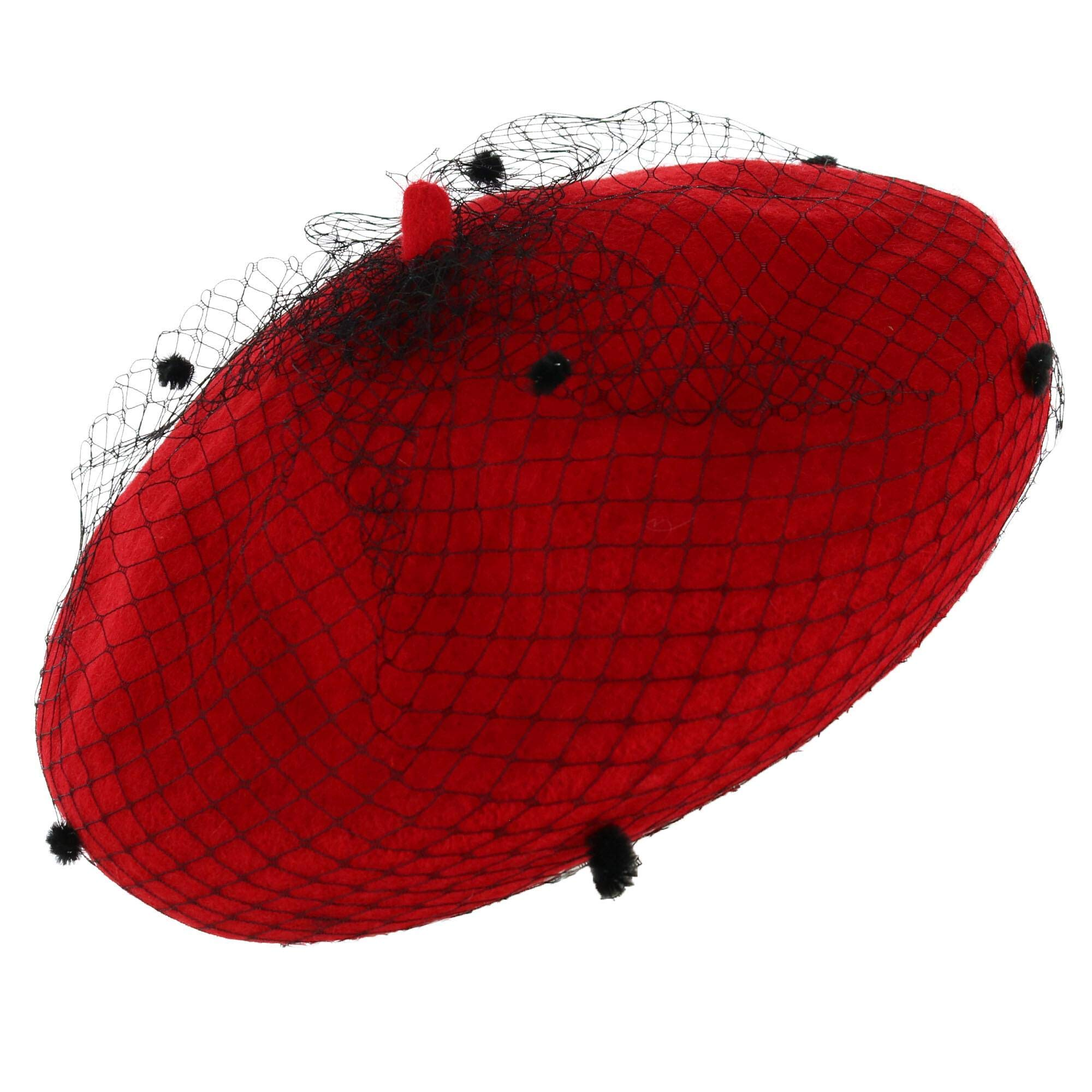 SOMETHING SPECIAL Women's Faux Wool Beret Hat with Swiss Dot Mesh, Red by SOMETHING SPECIAL