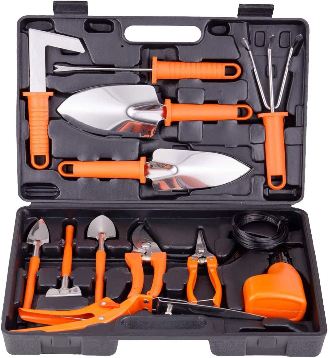 BNCHI Garden Tool Set, 13 Piece Stainless Steel Heavy Duty Gardening Tool Set, Gardening Tools for Women/Men (Orange)