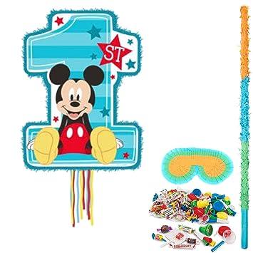 Amazon.com: Mickey Mouse 1st Kit de piñata de cumpleaños ...