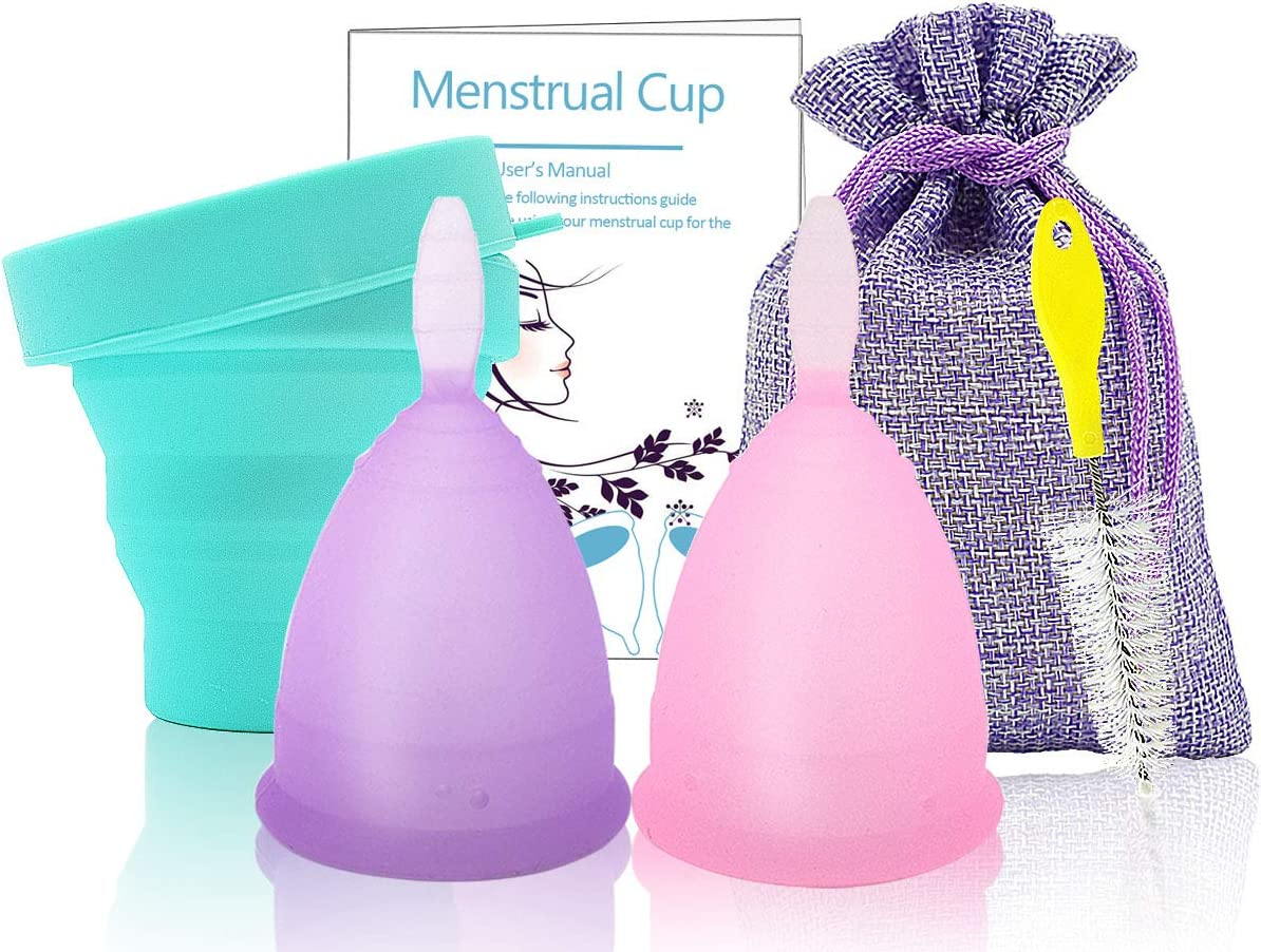 SPEQUIX - Juego de 2 copas menstruales reutilizables para mujer con 1 taza esterilizadora y 1 cepillo de limpieza, Small&Large - 2 Pack