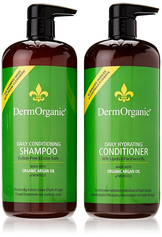 DermOrganic Daily Shampoo and Hydrating Conditioner with Argan Oil Duo Set , 33.8 fl.oz each by DermOrganic