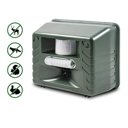 Aspectek Ultrasonic Outdoor Animal Repellent Motion Activated with Strobe LED Light for Rodents Deer, Cats, Dogs, Foxes, Mice, Birds, Skunks, Etc, ...