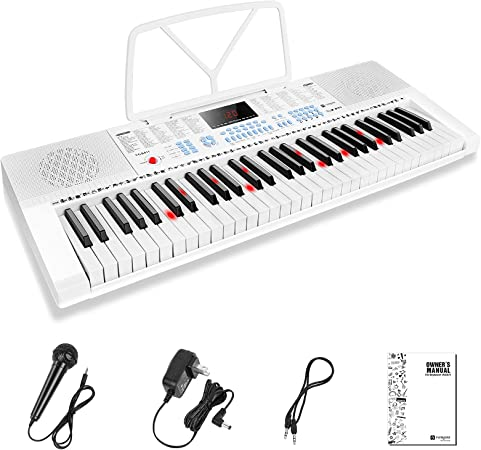 Vangoa Teclado de Piano Eléctrico 61 Mini Teclas Iluminada Digitales Teclado Piano con micrófono, 3 modos de enseñanza, 350 tonos, 350 ritmos, 30 ...