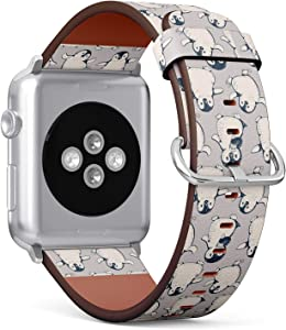 Compatible with Apple Watch 38mm & 40mm (Series 5, 4, 3, 2, 1) Leather Watch Wrist Band Strap Bracelet with Stainless Steel Clasp and Adapters (Monochrome Cute Penguins)