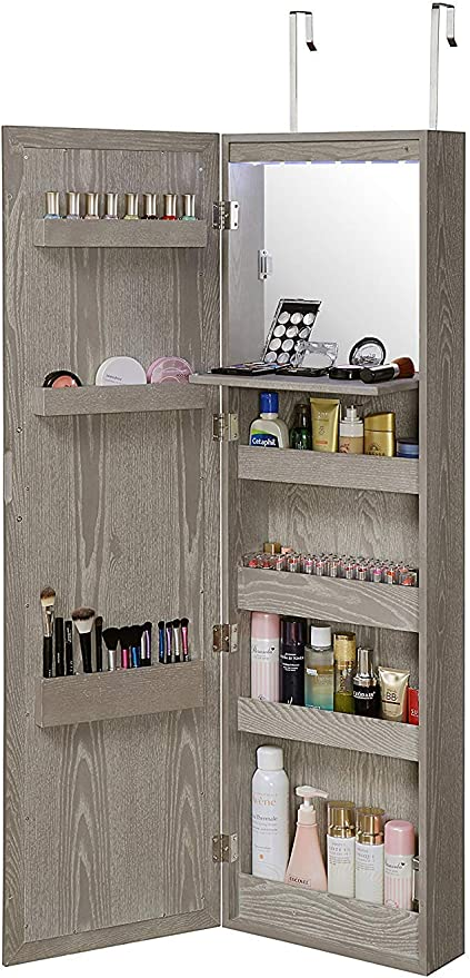 Details about  /White Standing Full Length Mirror Jewellery Cabinet Bedroom Makeup Organiser