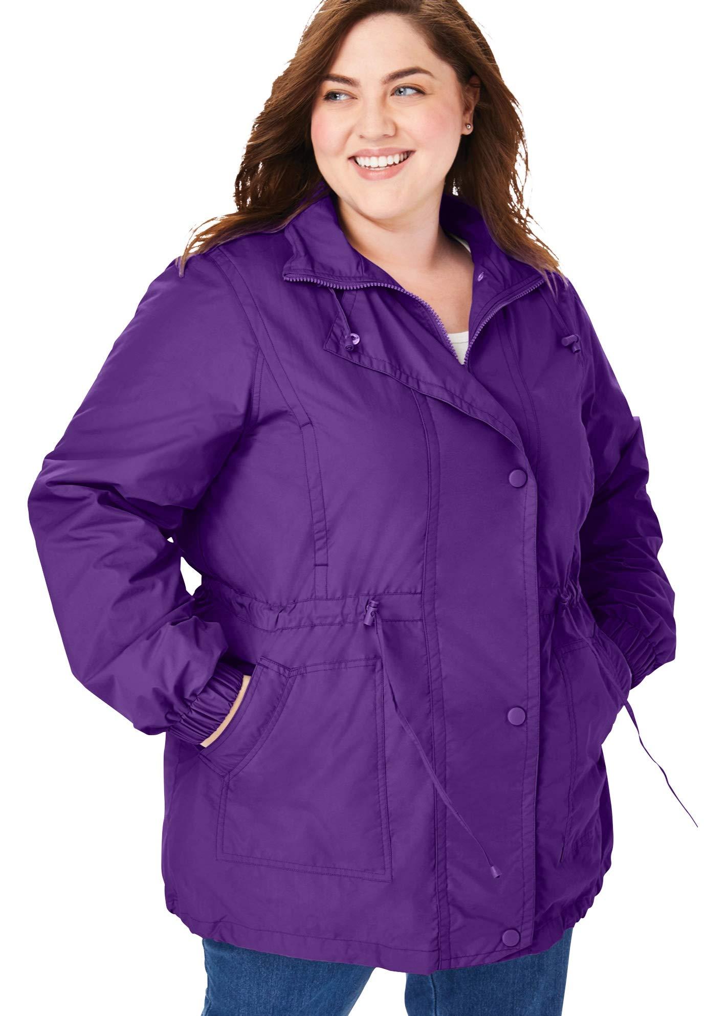 Woman Within Women's Plus Size Fleece-Lined Taslon Anorak Jacket