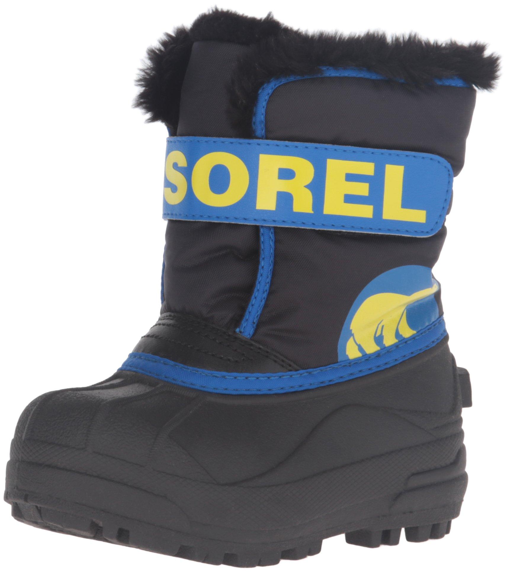 SOREL Commander-K Snow Boot, Black/Super Blue,7 M US Toddler