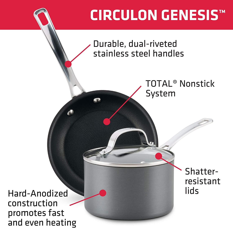 Circulon 83645 Genesis Hard Anodized Nonstick Fry Pan//Skillet Gray Graphite 10 Inch