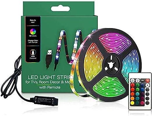 Retroiluminación LED de TV, luces LED de tira de 2 m para TV 46-60 pulgadas, para dormitorio con mando a distancia, 16 colores cambiantes 5050 TV retroiluminadas para HDTV: Amazon.es: Iluminación