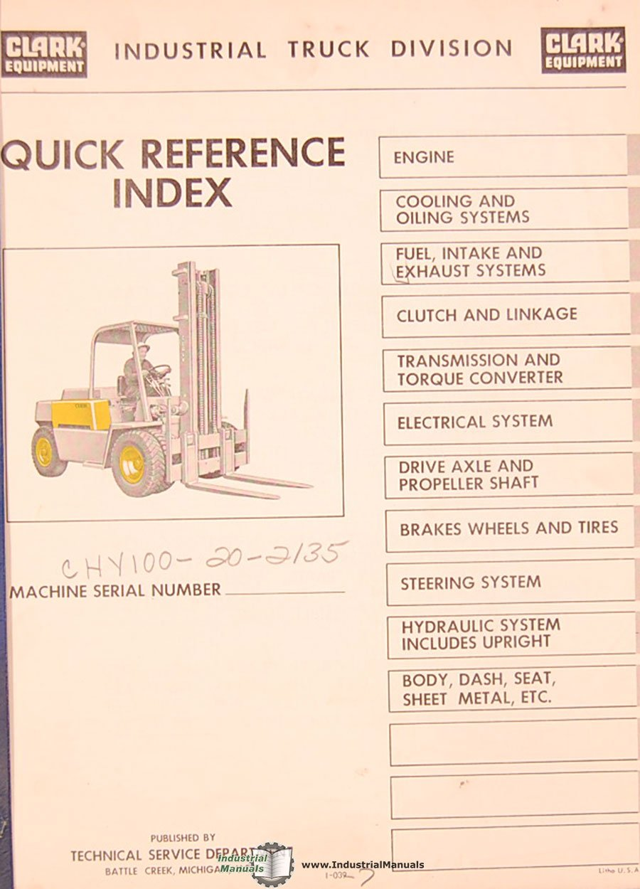 Clark Chy100 20 2135 Serial Number Forklift Trucks Parts Manual Hydraulic Clutch System Diagram Books