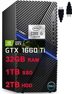 """Dell 2021 G5 5090 Premium Gaming Desktop Computer I 10th Gen Intel 6-Core i5-10400F (>i7-8700T) I 32GB DDR4 1TB SSD + 2TB HDD I GeForce GTX 1660 Ti 6GB I USB-C WiFi Win10 Black + Delca HDMI Cable"""" /></a></div> <div class="""