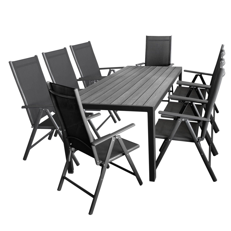 Gartengarnitur Aluminium Gartentisch Tischplatte Polywood 205x90cm