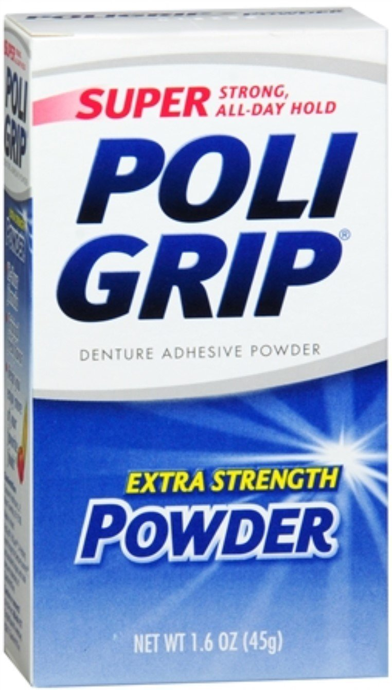 Super Poligrip Super Poligrip Denture Adhesive Powder, Extra Strength 1.6 oz (Pack of 3)