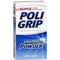 SUPER POLIGRIP Extra Strength Denture Adhesive Powder 1.60 oz (Pack of 2)
