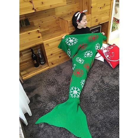GWELL Navidad cola de sirena de tejer gancho diseño de copo de nieve/Papá Noel