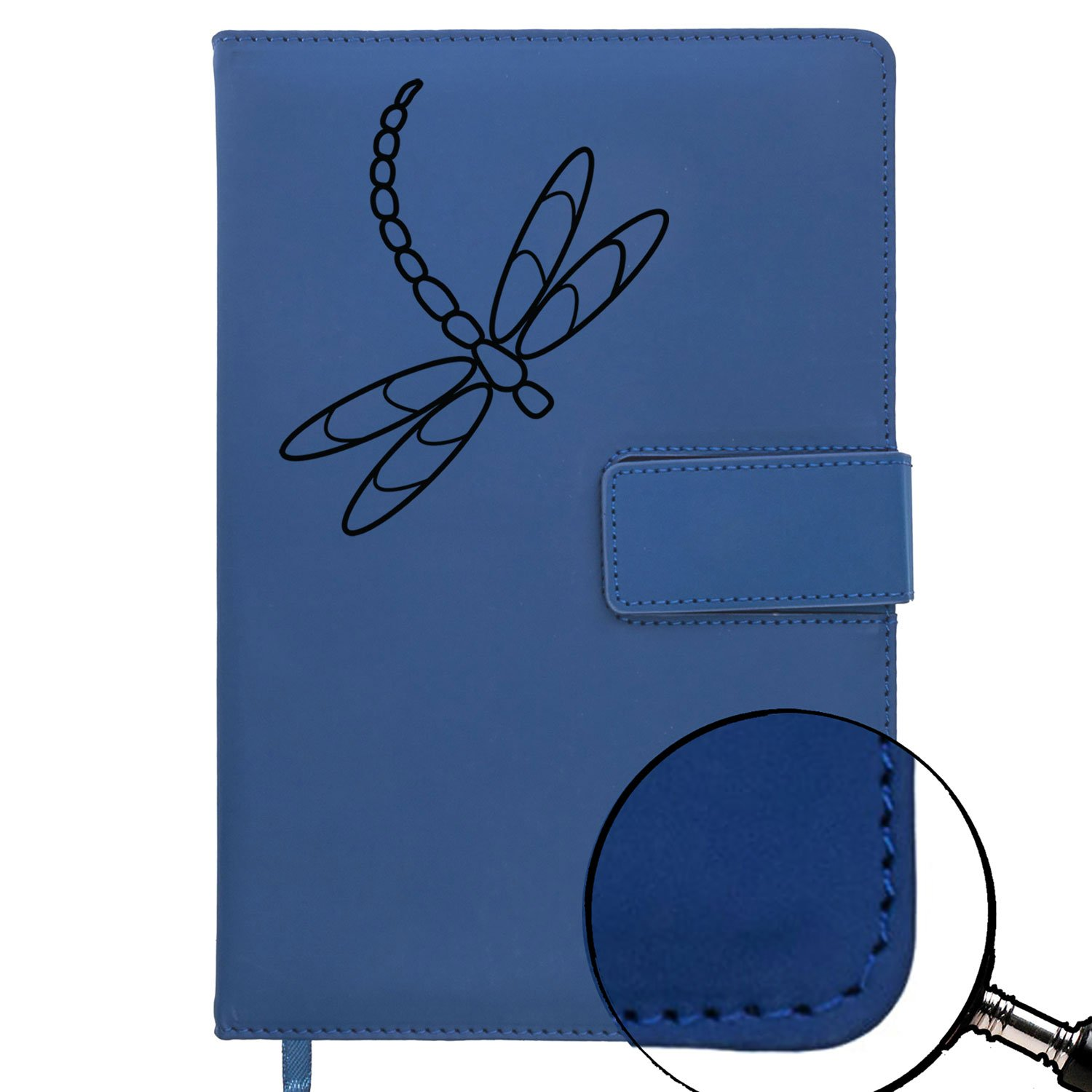 The Dragonfly Refillable Writing Journal | Faux Leather Cover, Magnetic Clasp + Pen Loop | Blank Notebook | 200 Lined Pages, 5 x 8 Inches for Travel, Personal, Poetry | Blue | The Amazing Office by The Amazing Office (Image #7)