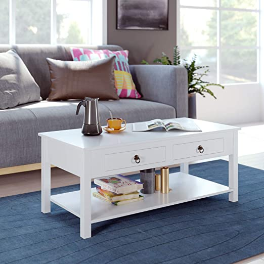 Homecho Coffee Table White Center Tables Living Room With 2 Drawers Organizer And Storage Shelf Rectangular Wood Modern Cocktail Sofa Table Home