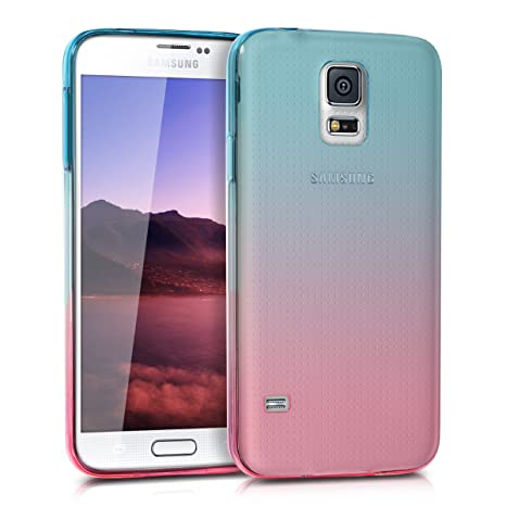 kwmobile Case for Samsung Galaxy S5 / S5 Neo - Clear TPU Soft Phone Cover - Bicolor Design, Dark Pink/Blue Matte