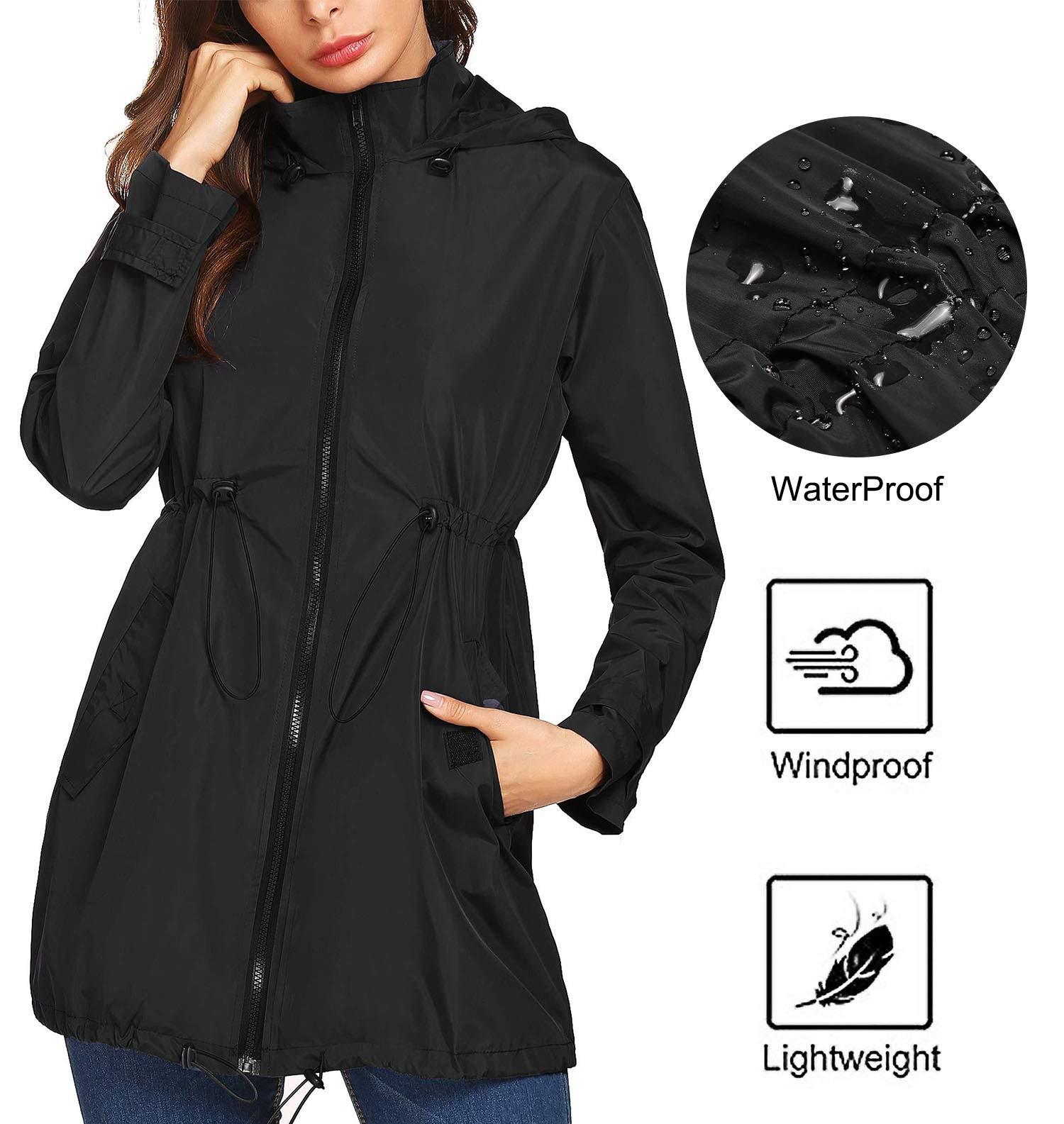 Mofavor Women's Lightweight Waterproof Raincoat Hoodie Rain Jacket Outdoor Anorak Windbreaker Black XXL