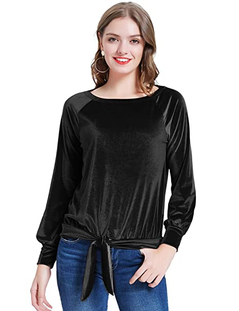 good quality 100% high quality superior materials KANCY KOLE Women's Casual Velvet Pullover Shirts Long Sleeve ...