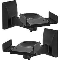 Mount-It! Speaker Wall Mounts, Pair of Universal Side Clamping Bookshelf Speaker Mounting Brackets, Large or Small Speakers, 2 Mounts, 55 Lbs Capacity, Black (MI-SB37)