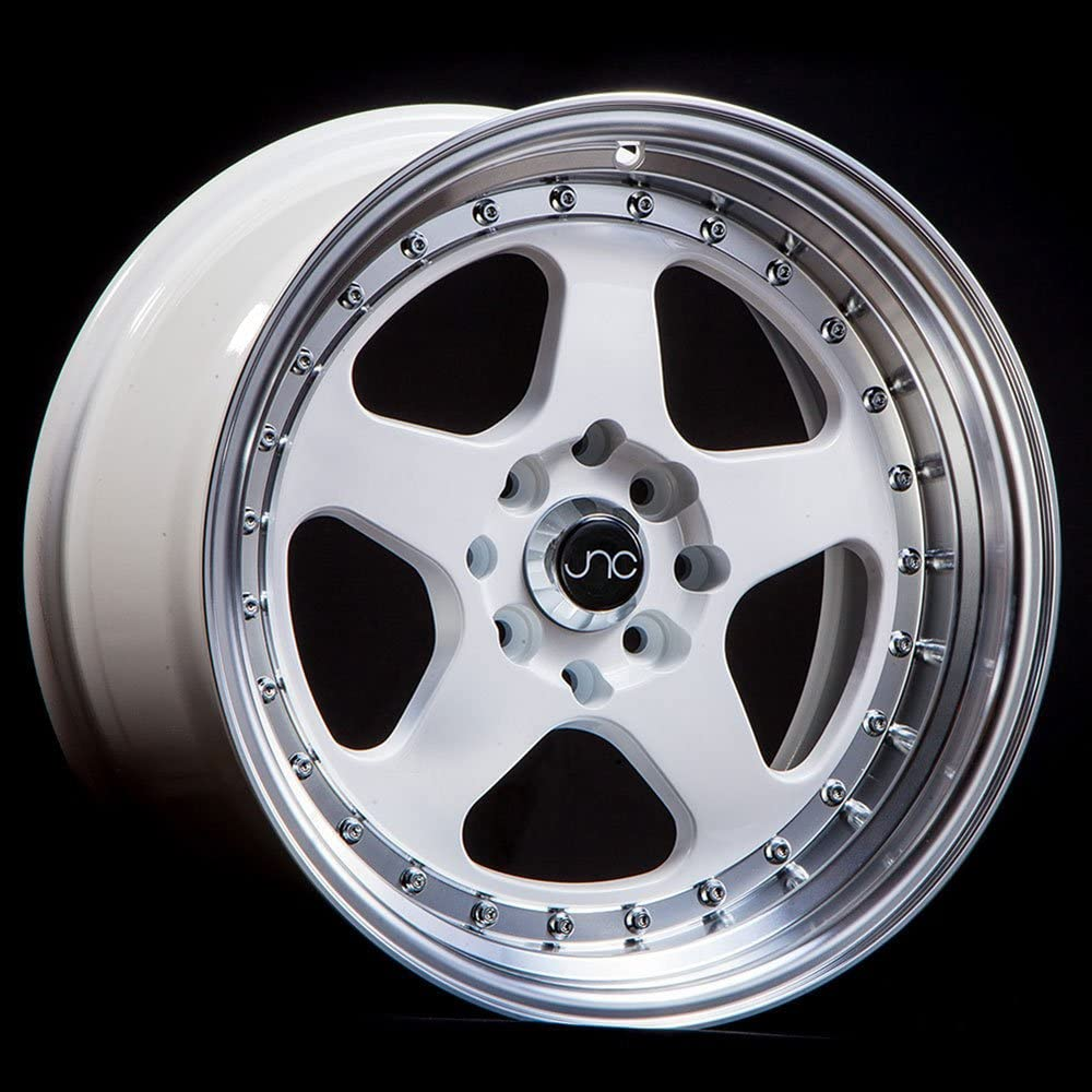 JNC Wheels 15 JNC010 White Machined Lip Rim 4x100//4x114.3-15x9 inch