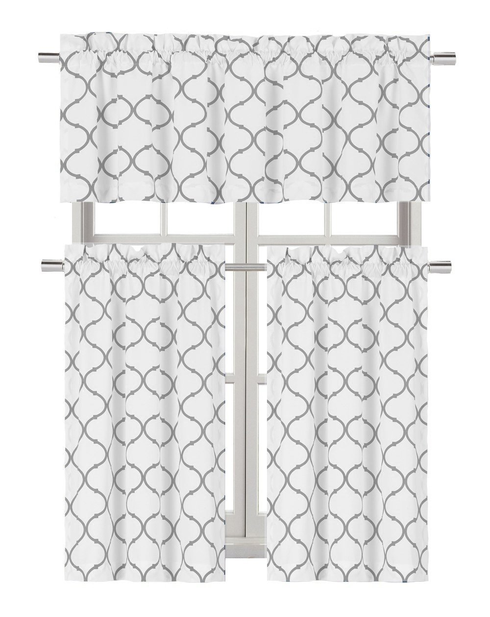 Regal Home Collections Shabby Lattice Kitchen Curtains - Assorted Colors & Sizes (Hunter Gray, Complete Kitchen Curtain Set)
