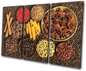 Bold Bloc Design - Food Kitchen Indian Spices - 150x100cm Canvas Art Print Box Framed Picture Wall Hanging - Hand Made in The UK - Framed and Ready to Hang