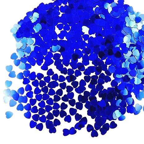 JZK 5000 pcs 1cm plástico especular corazón amor azul confeti boda mesa de comedor confeti dispersar