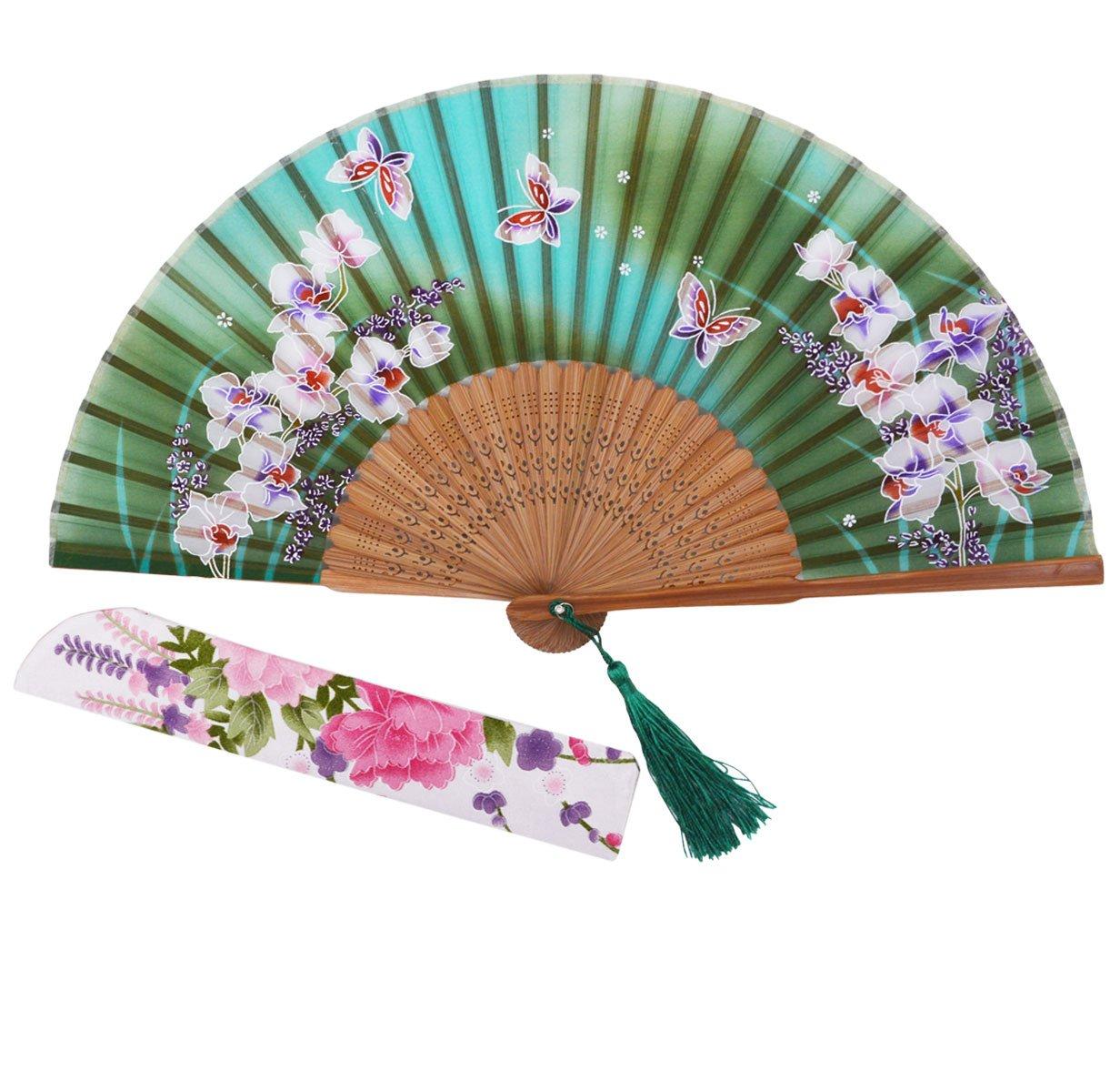 d19bf5612b Sthuahe - Abanico plegable de la gama orqu/í deas para mujer, abanico  chino//japon/é s vintage ...