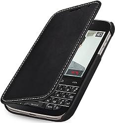 StilGut® Book Type Case Senza Clip, Custodia in Vera Pelle con Funzione on/off per Blackberry Classic Q20, Nero - Nappa