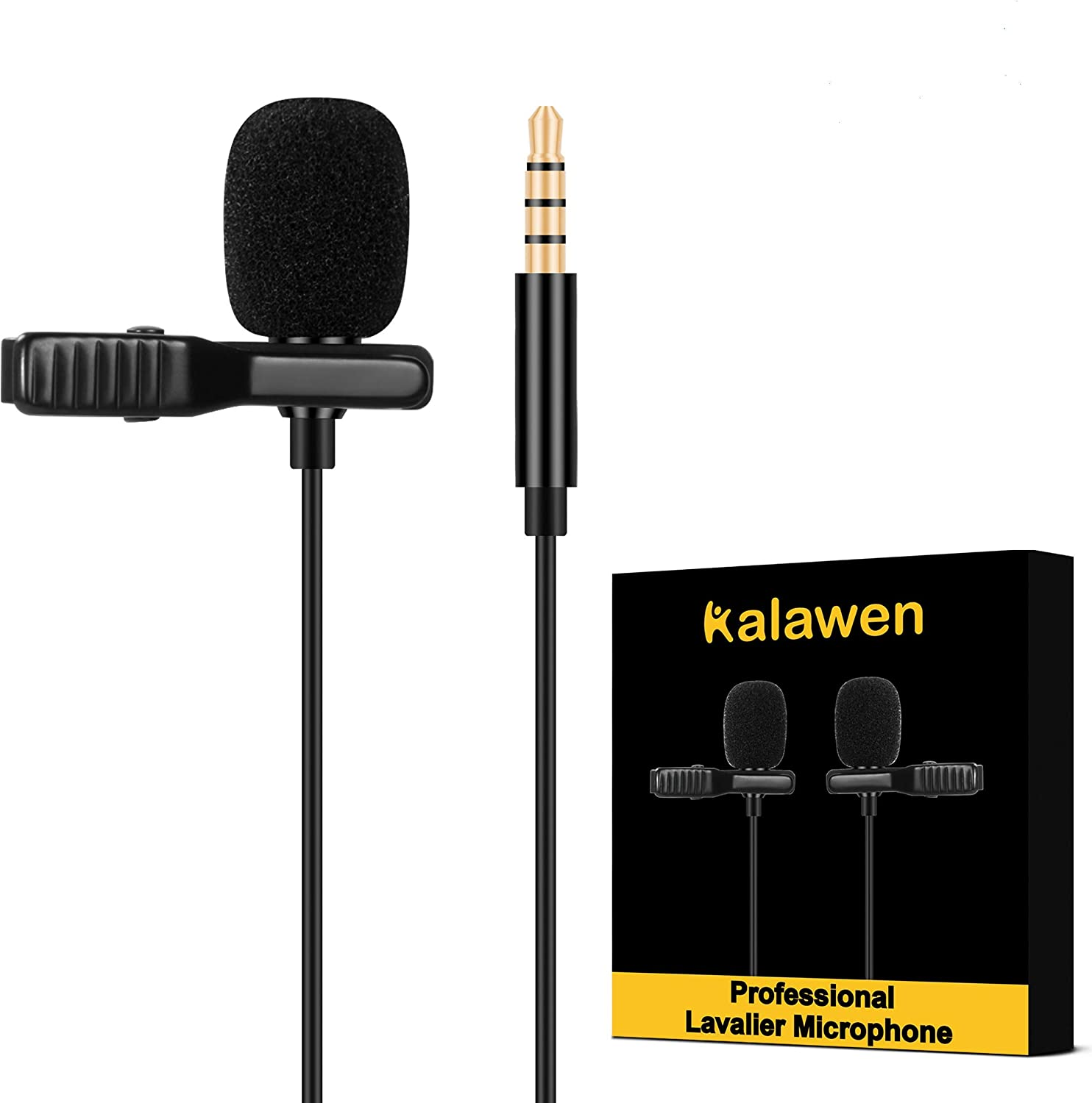 Kalawen Lavalier Microphone 2 Omnidirectional Condenser Lapel Mic For 3 5 Mm Android Smartphone Iphone Pc And Camera With Two 2 M Microphone Extension Cable For Interview Video Conferencing Podcast Musical Instruments