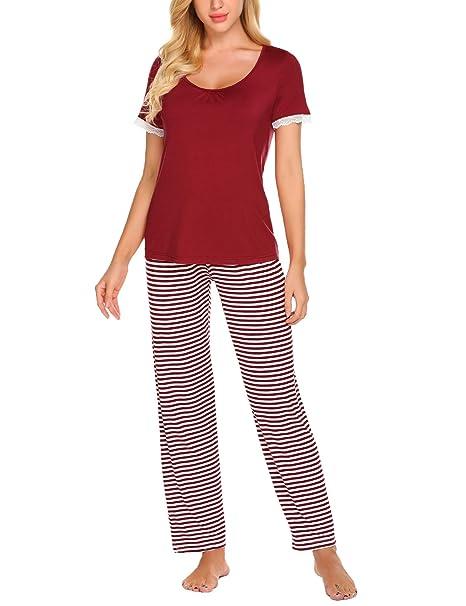 zhenwei Pijamas Mujer Verano Manga Corta Conjunto de Pijama para Mujer 2 Piezas de Ropa de
