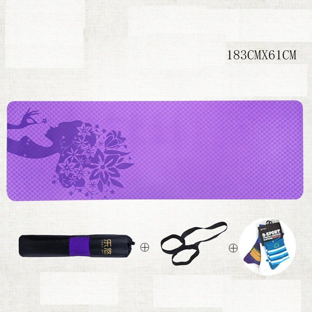 Violet EU40 Couverture de Yoga Professionnelle, Tapis d'exercice antidérapant 6mm